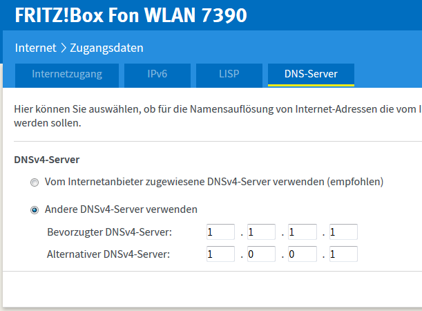 DNS-Server von Cloudflare in der Fritzbox